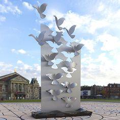 Bird Plane - exterior by architectmehdi Outdoor Sculpture, Sculpture Art, Plaques Funéraires, Arte Peculiar, Pavement Art, Artistic Installation, Tree Wall Art, Land Art, Public Art