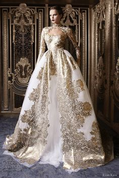 rami kadi couture 2013 white gold ball gown wedding dress long sleeves