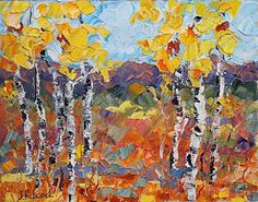 "Daily Painters Abstract Gallery: Original Palette Knife Aspen Landscape Painting ""Sunlight Harvest"" by Colorado Impressionist Judith Babcock"