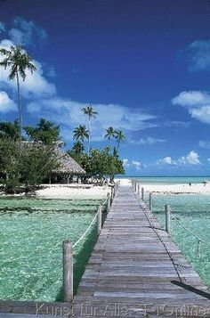 Thaiti, Polinesien, Bora Bora, Holzsteg