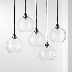 Firefly 5 Bulb Brass Pendant Light - Image 1 of 4 Brass Pendant Light, Modern Pendant Light, Modern Chandelier, Chandelier Lighting, Modern Lighting, Chandeliers, Capiz Chandelier, Beach Lighting, Dramatic Lighting
