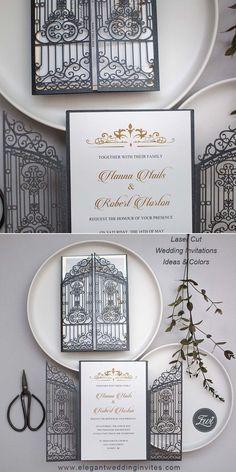 vintage slate black intricate laser cut gate-folded wedding invitation EWWS207 for elegant fall winter wedding ideas