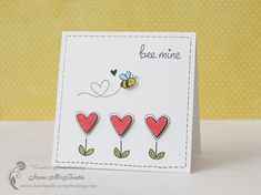 Lawn Fawn - Bee Mine _ sweet CAS Valentine card by Irene at Creative Scrapbooking