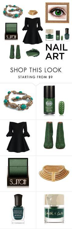 """Green With Envy: Wintery Nail Polish"" by ritasunderland ❤ liked on Polyvore featuring Chicwish, Maison Margiela, Surratt, Urban Decay, Balmain, Deborah Lippmann, Smith & Cult and nailedit"