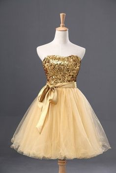 Yellow organza gold sequins sweetheart A-line short dresses,casual dresses Strapless Homecoming Dresses, Cute Prom Dresses, Beaded Prom Dress, Tulle Dress, Simple Dresses, Pretty Dresses, Beautiful Dresses, Casual Dresses, Fashion Dresses