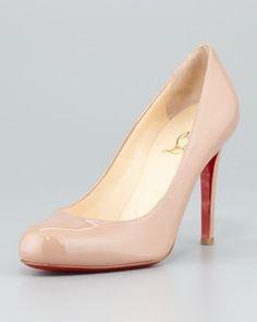 S03P7 Christian Louboutin Simple Patent Red Sole Pump, Nude 625$