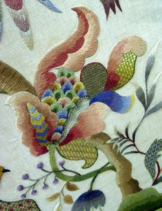 Crewel embroidery room divider from the collection of the RSN.