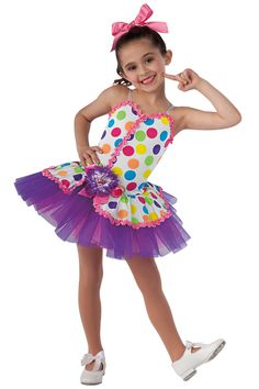 15101 Sweet Treat | Kids Showcase / First Performance / Dance Costumes / Recital Wear | Dansco 2015 | Bright polka dot printed and solid white spandex leotard with adjustable white elastic straps. Attached matching top skirt and purple over hot pink chiffon tutu. Hot pink ribbon and purple/white jeweled flower on pin trim. Ribbon for hair included.