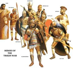 Photo: The Greek and Trojan heroes are depicted in this amazing illustration by the incomparable, Peter Connolly.  Ajax, Nestor, Diomedes, Menelaus of Sparta, Agamemnon and Achilles are represented from the Greek forces, while Hector and Aeneas from the Trojan warriors.  Someone might raise issue that Paris isn't included for the Trojans, then again should he?  #Greek  #Mythology  #Classics