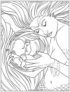 Mermaids - Calm Ocean Coloring Collection (Fantasy Art Coloring by Selina)… Mermaid Coloring Pages, Coloring Pages To Print, Coloring Book Pages, Printable Coloring Pages, Coloring Sheets, Mermaid Art, Colorful Pictures, Fantasy Art, Drawings