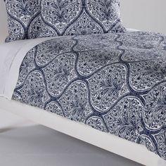 Ethan Allen Danika Printed Duvet Cover, Navy - home and bedding (botanical print, coastal blue pattern, bedroom decor)