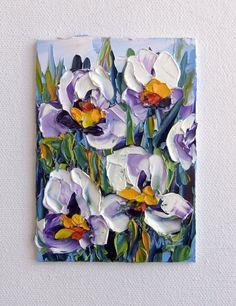 Iris Mini Flower Art Original ACEO Oil Painting by NuuPaletteKnife