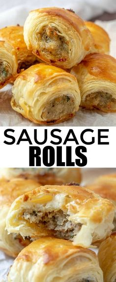 Easy, filling and perfect for parties these Sausage Rolls are savory, meaty and full of just the right amount of spices that they are a hit among party guests! appetizer sausage rolls puffpasty partyfood fingerfood via 442971313346856340 Best Appetizer Recipes, Finger Food Appetizers, Best Appetizers, Sausage Appetizers, Party Food Recipes, Easy Finger Food, Finger Food Recipes, Sandwich Appetizers, Appetizer Ideas