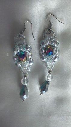 Swarovski beads and clear plastic beads