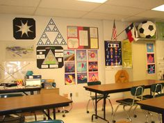 Inspiring Math Classroom Decorations - love the ball-a-soccer ball during Geometry unit