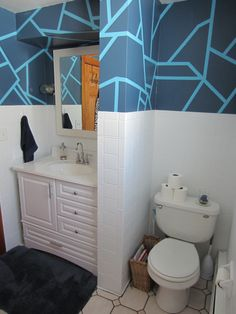 When we first moved in to our house our bathroom was a dungeon- deep, dark brown walls with beige tile and one tiny window. Frog Tape Wall, Tape Wall Art, Childrens Bathroom, Small Bathroom, Downstairs Bathroom, Bathroom Ideas, Interior Walls, Bathroom Interior, Church Nursery Decor