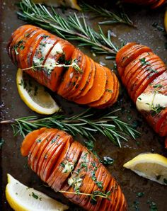 Hasselback herbed garlic butter sweet potatoes  look beautiful and taste even better. Get this delicious vegetarian Thanksgiving side recipe and more now.