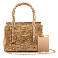 La Perla Christmas Gifts Gold Glitter Python Mini 1954 Bag ($2,490) ❤ liked on Polyvore featuring bags, handbags, gold, satchels, mini handbags, gold handbags, mini purse, chain purse and gold purse