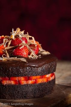 Strawberry chocolate devils food cake