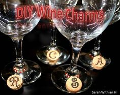 "Personalized Wine ""Cork"" Charms that cost practical nothing to make; one wine cork makes four charms.  #Wineglasscharms"