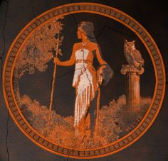 Athena, for once unhelmed, and in period pottery colors.