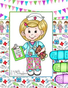 Cute digi stamps and clipart for your crafting delight. New Nurse, Digi Stamps, Giveaway, Paper Crafts, Clip Art, Creative, Cute, Projects, Log Projects