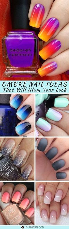 Ombre nails are very trendy now. You can achieve the desired effect by using nail polish of different colors.