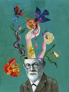 Freud portrait - OLAF HAJEK ILLUSTRATION