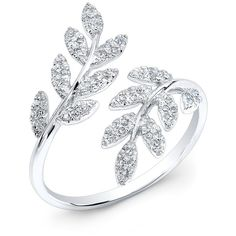 Anne Sisteron  14KT White Gold Diamond Branch Ring (2.155 BRL) ❤ liked on Polyvore featuring jewelry, rings, accessories, anel, joias, white, white gold rings, diamond jewelry, wide rings and white gold diamond jewelry