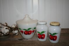 Fire King Apples and Cherries Range Set, Grease Jar and Shakers, Vintage 1950's by UdellLane on Etsy