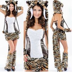 Sexy Sabertooth Tiger Fuzzy Costume Rage Small Get this one-of-a-kind Sabertooth tiger costume.  Great for Rage concerts year round or Halloween.  It's a complete set.  Comes with hood, dress, gloves, fur leg warmers.  Size small. Other
