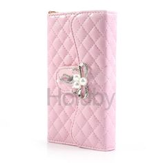 Diamond Butterfly Grid Pattern Stand Wallet Leather Purse Case For Samsung i9500 Galaxy S4 i9505 i9502(Pink)