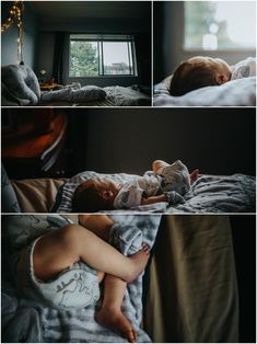Baby sleeping on bed collage. Baby toes, Baby mitts. Details In home documentary newborn session. Mimsical Photography, White Rock, British Columbia #newborn #lifestyle #documentary #reallife #babyboy #nursery #black #apartment #firstbaby #naturallight #light #newparents