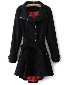 Black Stand Collar Long Sleeve Belt Slim Coat