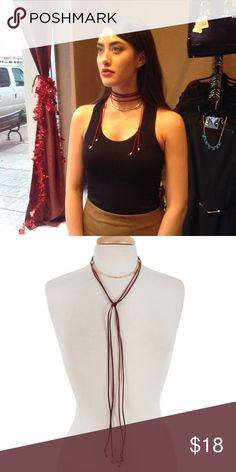 Burgundy Choker This beautiful choker features hammered gold tone bar detail on suede rope. Measures 70 inches. Price firm unless bundled. (This closet does not trade or use PayPal ) Accessories