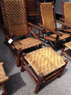 Old Hickory Prison made lean back chair with matching ottoman, available: Christibys SOLD