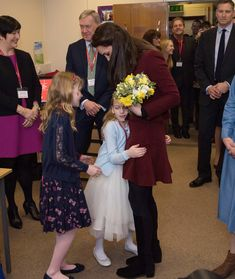 Catherine, Duchess of Cambridge gets a hug from Ypapanti Galimatakis during her visit to MIST, a child and adolescent mental health project, part of Action for Children which supports vulnerable families in Wales and across the UK on February 22, 2017 in Pontypool, United Kingdom.