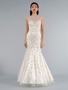 Illusion Mermaid Wedding Dress  with No Waist/Princess Seams in Beaded Embroidery. Bridal Gown Style Number:32943631