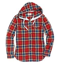 Extra Slim Fit Flannel Herringbone Hooded Sport Shirt By Brooks Brothers