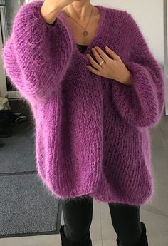 Nadire Atas on Knitted Designs Pretty mohair-style slouchy sweater Slouchy Sweater, Mohair Sweater, Sweater Cardigan, Sweater Nails, Sweater Knitting Patterns, Lace Knitting, Knitting Sweaters, Crochet Patterns, Cardigan Fashion