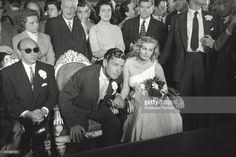 Swedish actress Anita Ekberg waiting to get married with English actor Anthony Steel at Palazzo Vecchio