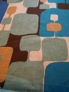 Vintage Scandinavian Filkauf Linen Fabric abstract by WeGather, $40.00