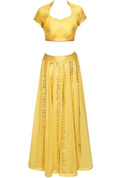 Mustard gota patti and sequins embroidered lehenga set available only at Pernia's Pop Up Shop.
