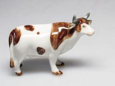 Craft Miniature Collectible Porcelain Ceramic Brown Cow Figurine Animal - Figurines