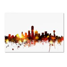 Dallas Texas Skyline II by Michael Tompsett Graphic Art on Wrapped Canvas