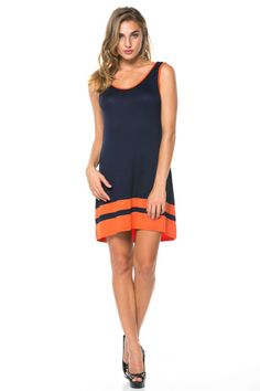 Simple and Cute dress for gameday! Just add cowboy boots! navy and orange! Only $27 and FREE SHIPPING #gameday #dress #auburn #auburntigers #navyandorange