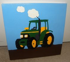 Boys room john deere green tractor painting canvas wall for 10x10 kids room