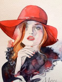 Fashion Illustration Original Watercolor Painting by LanasArt, $105.00