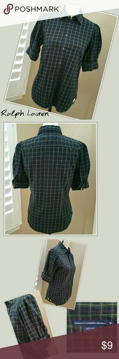 🌅 Ralph Lauren Plaid Button Down Blouse Retro 10 * Ralph Lauren Sport button-down blouse. Short, puffy-style, cuffed sleeves. Green-blue plaid. Retro style. * Size 10 (equivalent to a medium) * 100% cotton * Good used condition. Fabric slightly faded from washing. No damage to note. Ralph Lauren Tops Blouses