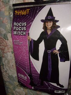 HOCUS POCUS WITCH HALLOWEEN COSTUME WITH HAT GIRLS SIZE MED 8-10 NEW SPIRIT…